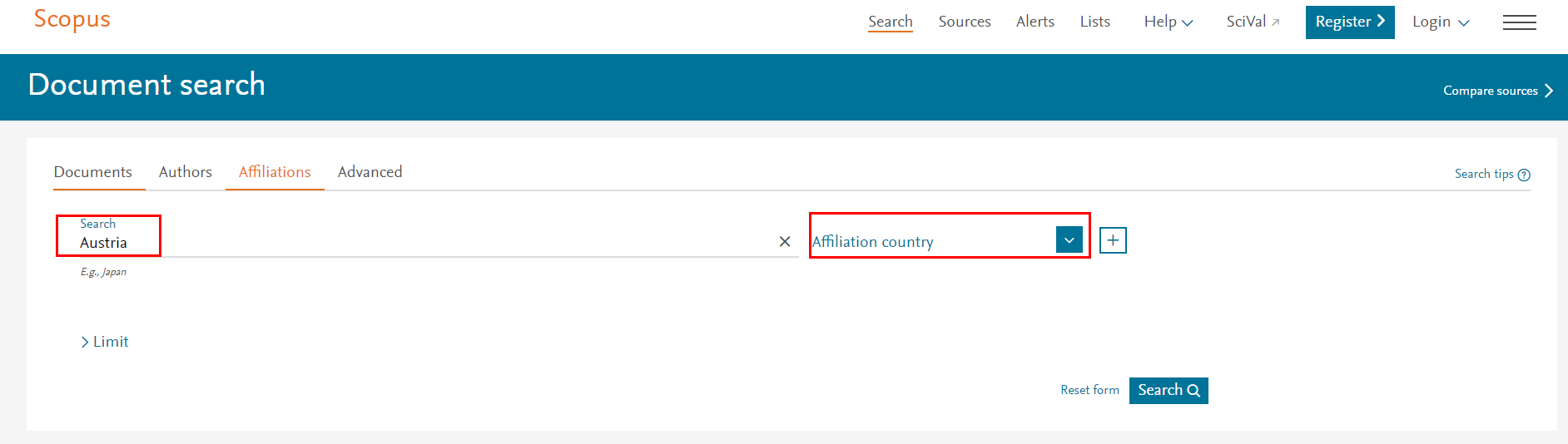Figure 1 Search for a country's publications